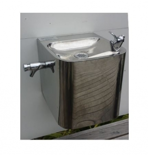 Stainless Steel Wall Mounted Fountain With Side Mounted Bottle Filler F6OB